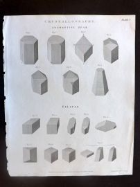 Rees 1820 Antique Print. Crystallography. Crystals